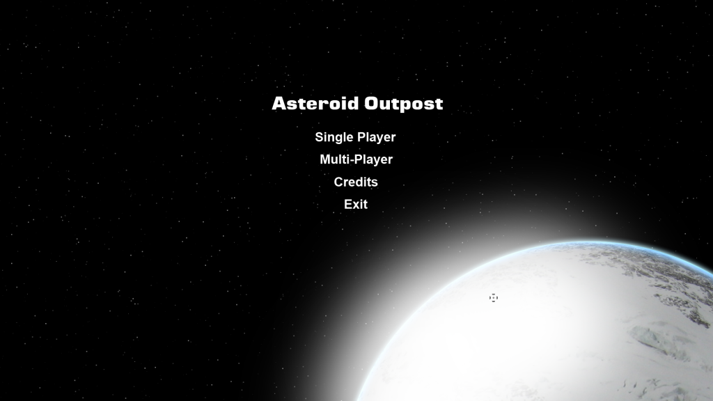 Main menu with ice planet