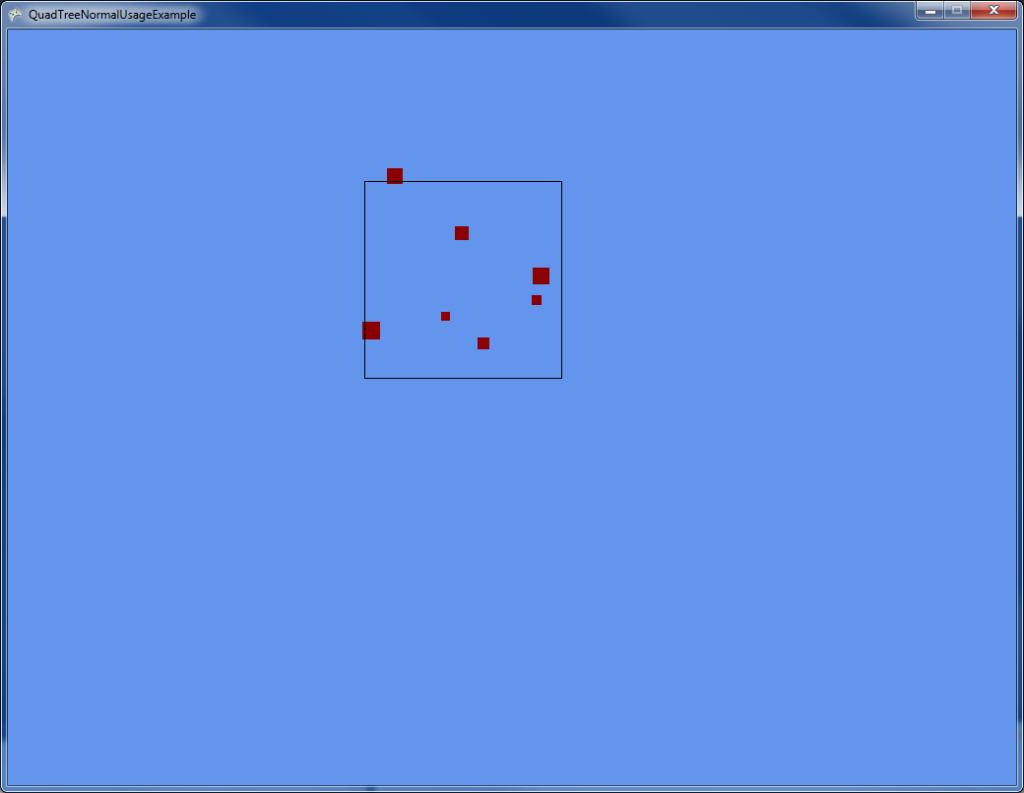 A normal usage example. The rectangle represents what the user can see and is moved around with the mouse