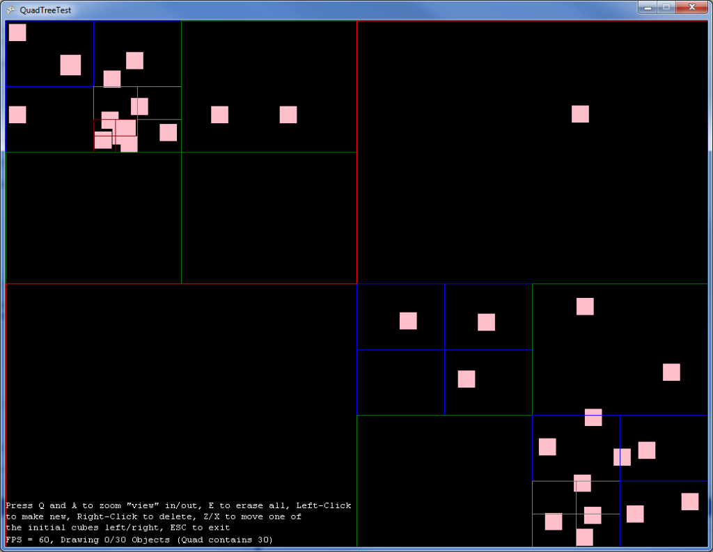 A visual test that allows the user to see the quads while adding and subtracting objects